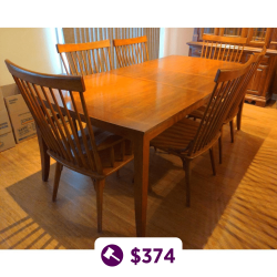 Wooden Dining Table & 6x Chairs