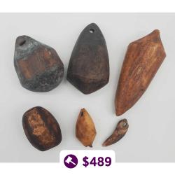 Six Eskimo Artifact Line Sinkers