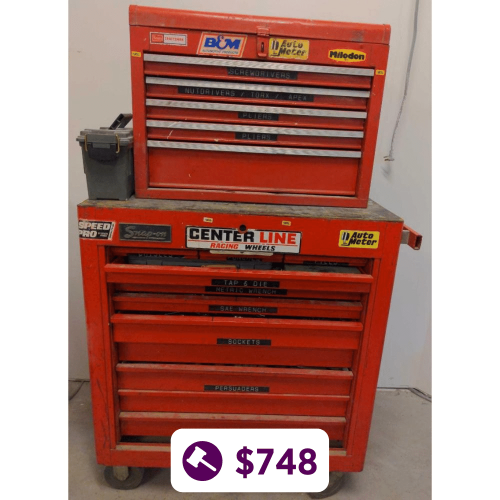 Red Snap-On Tool Chest Jammed Full of Quality Tools