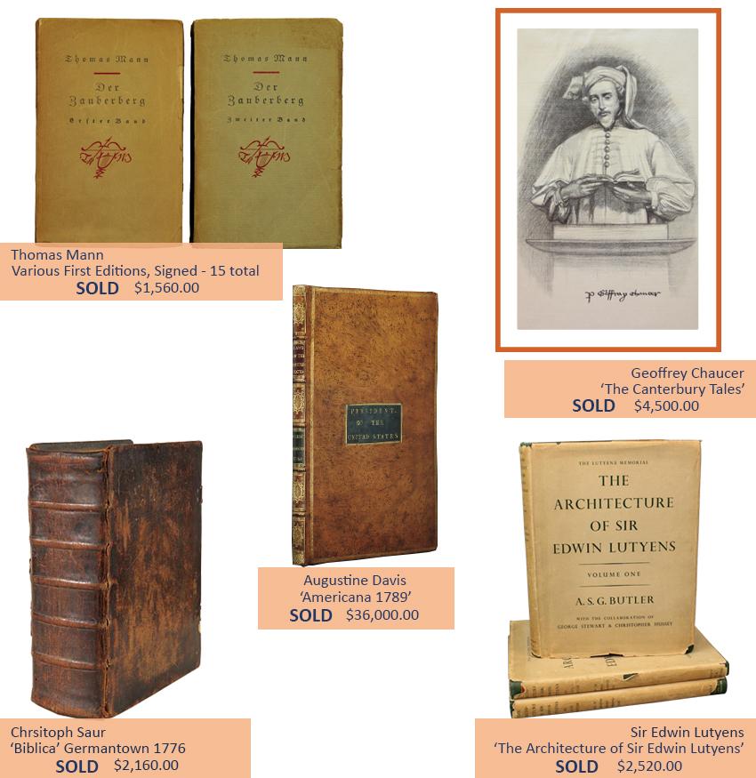 Alderfer Auction books, ephemera and postcard highlights