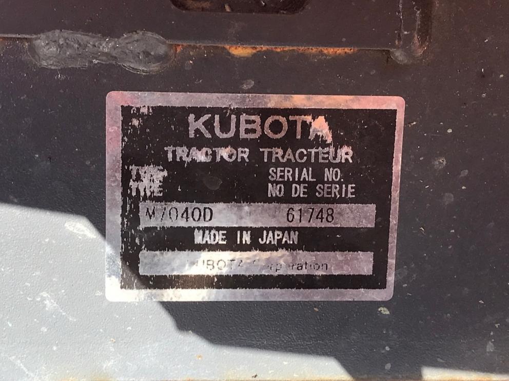 Kubota M7040D Tractor, 456 Hours