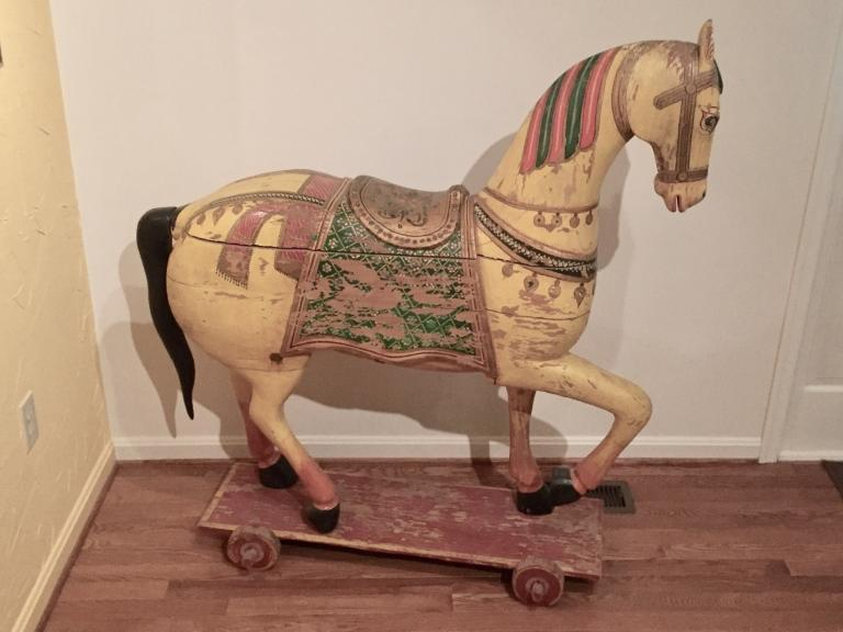 Antique Wooden Carousel Horse 1 of 2