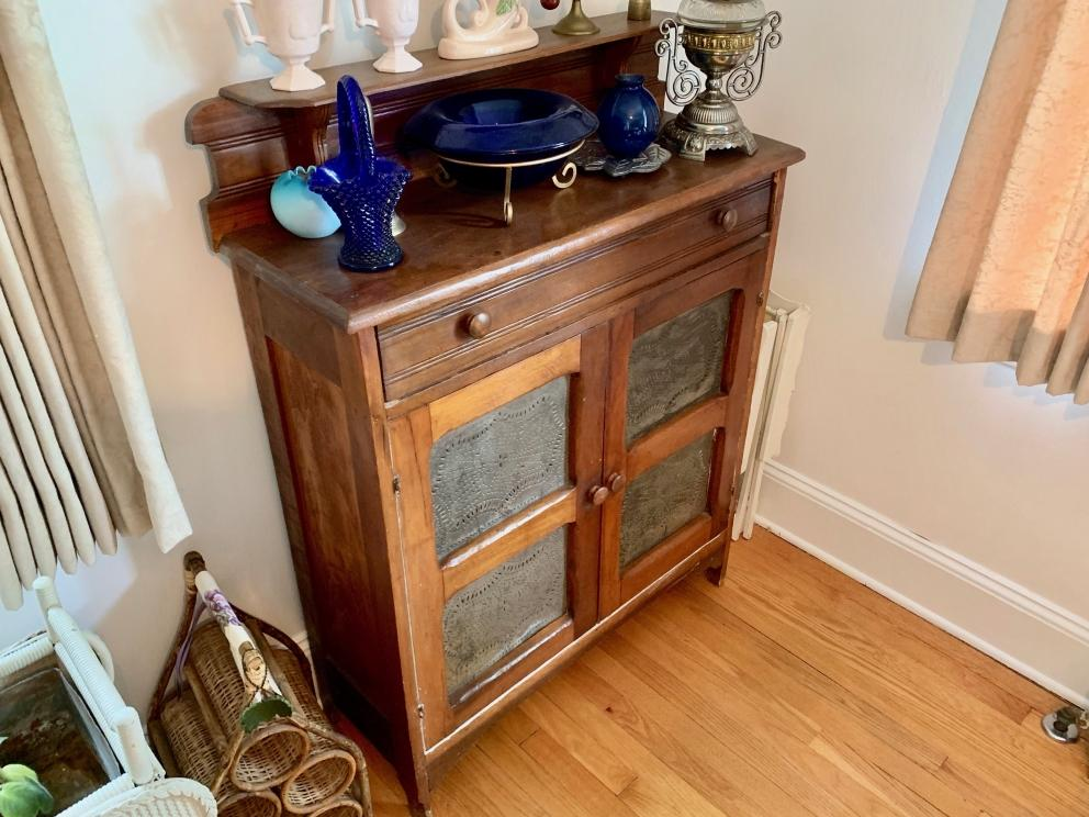 2)4-Tin Pie Safe with Top Drawer and Gallery