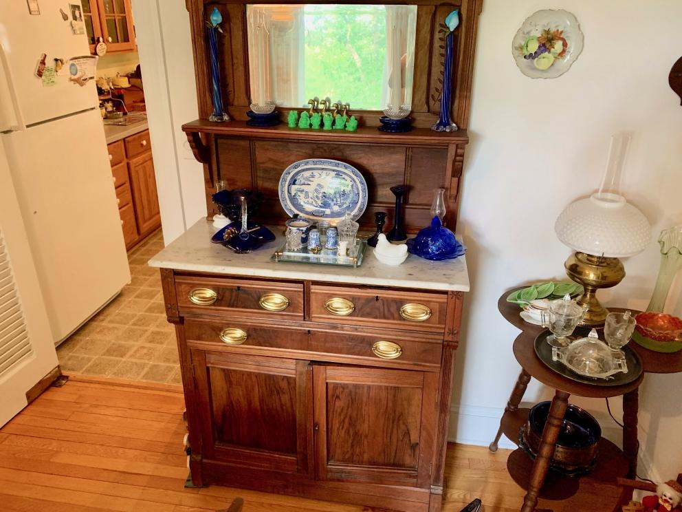 20)Tall Server with Marble Top, Mirror, Brass Pulls