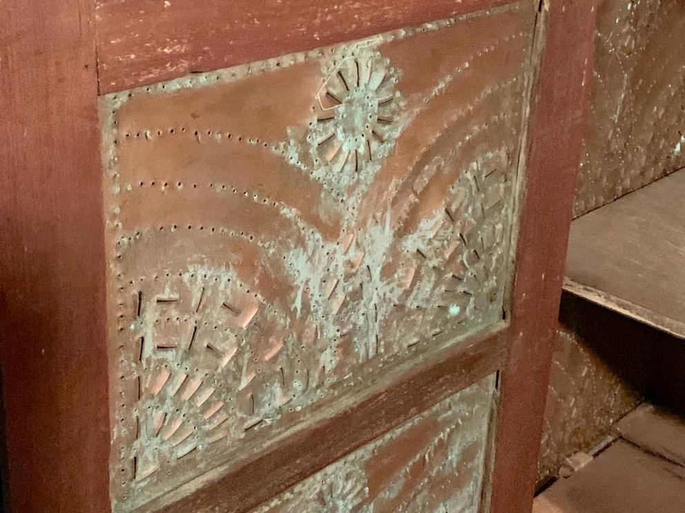 1)12-Copper Tin Pie Safe w/Rising Sun Tin Design, Bottom Drawer