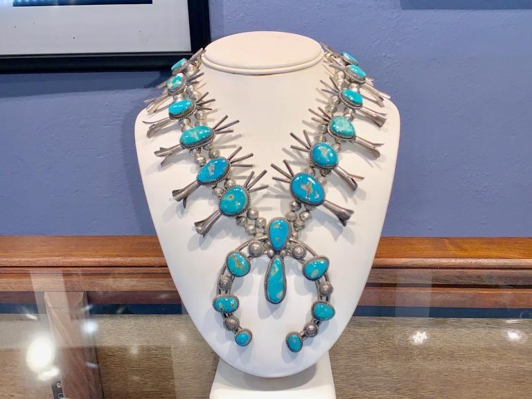 Navajo Sterling Silver Squash Blossom Necklace - 1