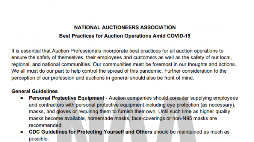 NAA Releases Best Practices for Auction Operations Amid COVID-19