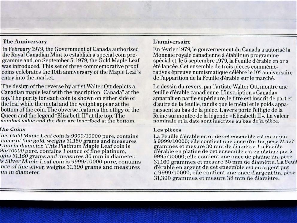 1989 MAPLE LEAF 1989 ANNIVERSARY COINS